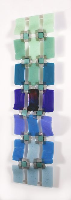 Graduated Grid - Green to Blue by Nina Cambron: Art Glass Wall Art available at www.artfulhome.com