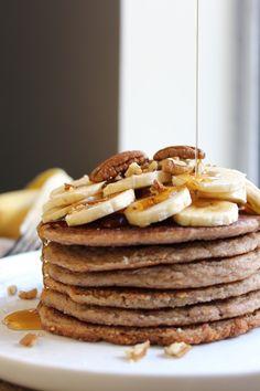banana pecan pancakes (healthy) click here for recipe