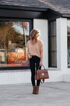 black sunglasses camel sweater, black jeans, leopard booties, brown leather bag, and black sunglasses Wedge Booties Outfit, Leopard Shoes Outfit, Leather Leggings Outfit, Leopard Print Boots, Black Jeans Outfit, All Black Outfit, Leopard Sweater, Black Wedges Outfit, Leopard Prints