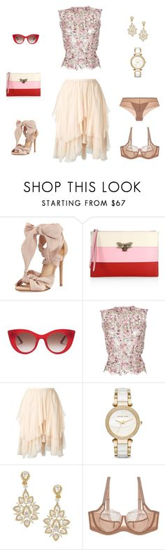 """""""A touch of red"""" by edith-a-giles ❤ liked on Polyvore featuring Alexandre Birman, Gucci, Thierry Lasry, LUISA BECCARIA, Chloé, Michael Kors and Nadri"""