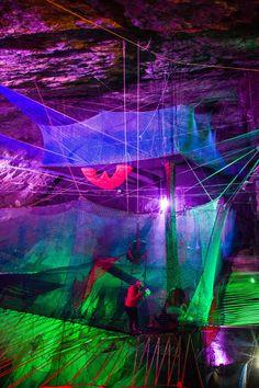 """""""Bounce Below"""" Cave Trampoline inside the 177 year-old Llechwedd Slate Caverns in Blaenau Ffestiniog, North Wales. I wanna go!!"""
