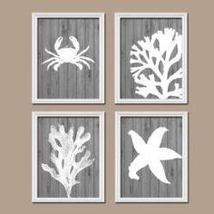 Bathroom Wall Art Canvas Artwork Nautical Coral Reef Ocean Sea Wood Grain  Crab Lobster Starfish Set Of 4 Prints Decor Shower Curtain