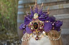 Mermaid crown - purple - shell crown - siren - photoshoot - pageant - runway - mermaid costume - fantasy - cosplay - fashion. by ScarletHarlow on…