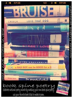 book spine poetry! Set up a Bookspine Poetry table in your craft room or teen space. All you need is a wide variety of titles on a table and teens can go and create some bookspine poems at their leisure.