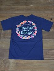 Spring is here! Show your love for Texas State University in this new Floral TXST Bobcats Comfort Color t-shirt! Go Bobcats!