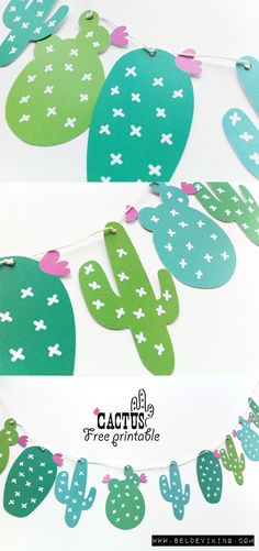 Kakteen Deko Wimpelkette easy selber machen Free Printable *** DIY pennant banner CACTUS