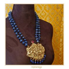 Shiv Parivaar Nakash Pendant With Beads Necklace By Rajatamaya! Bead Jewellery, Pendant Jewelry, Beaded Jewelry, Beaded Necklace, Temple Jewellery, Gold Pendant, Necklaces, Real Gold Jewelry, Gold Jewelry Simple