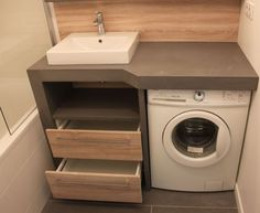 Un lave linge dans une petite salle de bain - Atlantic Bain - Karla pins Small Laundry Rooms, Laundry Room Design, Bathroom Design Small, Laundry In Bathroom, Bathroom Storage, Modern Bathroom, Boho Bathroom, Small Bathrooms, Master Bathroom