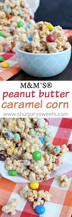 Looking for a great sweet and salty snack? Try this recipe for M&M'S Peanut Butter Caramel Corn from @shugarysweets!