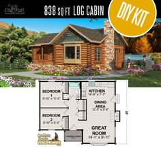 Red Lake Log Cabin by Golden Eagle Log & Timber Homes - quality small log cabin kits and pre-built cabins that you can afford! Cabin House Plans, Tiny House Cabin, Small House Plans, House Floor Plans, Small Log Cabin Kits, Tiny Log Cabins, Log Cabin Homes, Diy Cabin, Rustic Cabins