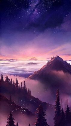"""""""The World is Ahead"""" by megatruh. Beautiful pink and purple landscape fantasy world Nature Wallpaper, Wallpaper Backgrounds, Iphone Wallpapers, Mobile Wallpaper, 2017 Wallpaper, Wallpaper Space, Vintage Wallpapers, Pretty Wallpapers, Iphone Backgrounds"""