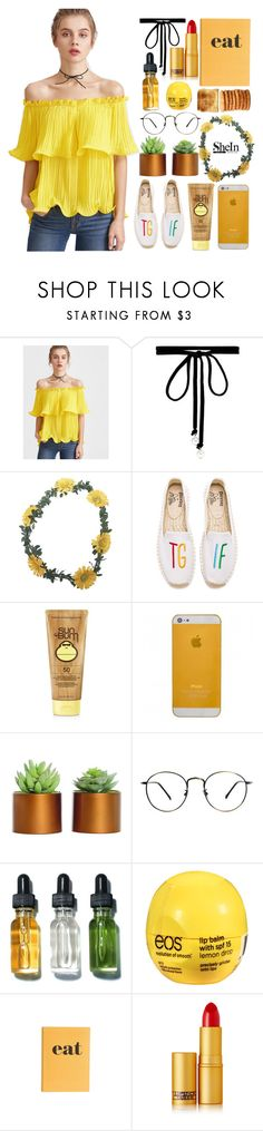 """SheIn Contest - Yellow Top"" by catarinahoran21 ❤ liked on Polyvore featuring Joomi Lim, Wet Seal, Soludos, Forever 21, Bobbi Brown Cosmetics, Eos, Jayson Home and Lipstick Queen"
