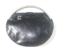 1930s deco black calfskin round clutch with by SplendoreBoutique, $90.00