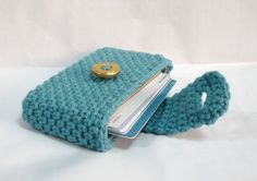 crocheted card case