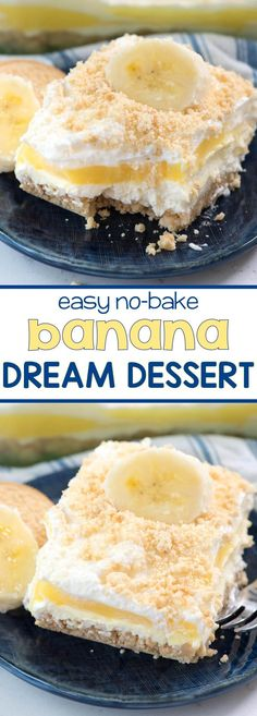 No Bake Banana Pudding Dream Dessert - this easy dessert lasagna recipe is made with BANANA pudding! It's layered with no bake cheesecake and a Golden Oreo Crust!