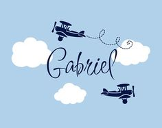 Airplane Wall Decals - Airplane Cloud and Personalized Name Vinyl Wall Decal for Boy Baby Nursery or Boys Room Wall Art Boy Names With J, Trendy Baby Boy Names, Trendy Baby Boy Clothes, Baby Boy Rooms, Baby Boy Nurseries, Airplane Nursery, Nursery Name, New Baby Boys, Baby Decor