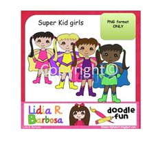 Clip Art in PNG format only.Single user. Personal and Commercial use OK.Includes four super kid girls.Super kid boys are also available...