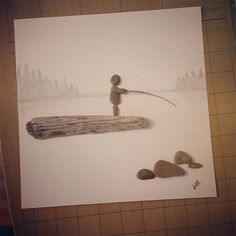 """Fishin"" #storiesinstone #stones #nature #everyonehasastory #wood #driftwood #driftwoodart #georgianbluffs #countrylife #georgianbay #giftideas #anniversarygift #owensound #art #craft #brucepeninsula #beautiful #family #cottage #cottagedecor #love #quietmoments #mothernature #canadian #canadianart #ontario"