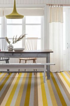 The Margo Selby Stripe Sun Whitstable carpet is a bold patterned carpet in on trend shades of yellow and grey. Wall Carpet, Diy Carpet, Bedroom Carpet, Living Room Carpet, Rugs On Carpet, Striped Carpets, Patterned Carpet, Alternative Flooring