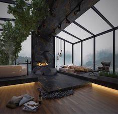 Home Room Design, Dream Home Design, Modern House Design, My Dream Home, Luxury Modern House, Glass House Design, Modern Houses, Luxury Living, Dream House Interior