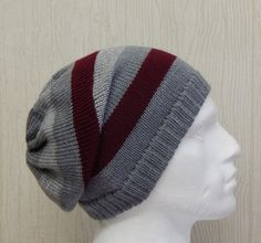 Size L .This mens hat is very comfortable and modern. Your men can wear this hat all year long,because I made it from acrylic yarn and this slouchy