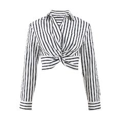 T By Alexander Wang Striped Twist Front Crop Shirt Black And White Crop Tops, Striped Crop Top, Stripe Top, Black White, Striped Shirts, White Cotton Blouse, Crop Shirt, Mode Style, Long Tops