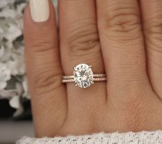 Moissanite Engagement Ring Set Wedding Engagement Rings White Gold Moissanite Ring with Matching Band - Fine Jewelry Ideas Wedding Rings Simple, Wedding Rings Solitaire, Wedding Rings Vintage, Rose Gold Engagement Ring, Bridal Rings, Wedding Jewelry, Wedding Bands, Oval Engagement, Gold Jewelry