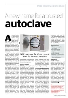 A new name for a trusted autoclave, Ireland's Dental magazine, October 2014 New Names, October 2014, Dental, Articles, Magazine, Magazines, Dentist Clinic