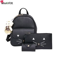 c15aef3dc1a6 3pcs Cat Printing Backpack PU Leather Mini Backpacks Women School Bags for  Teenage Girls Bags Children