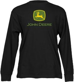 John Deere Mens Logo Long Sleeve T-Shirt- Black: Amazon.com: Clothing