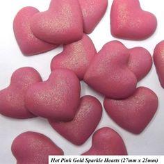 Hot pink  hearts with gold sparkle. #JustAddCake for #Valentines. - - - - #sugarcraft #sugarart #hearts #pink #red #cupcakes #cakes #weddingcake #weddingideas #womeninbusiness #shopsmall #ebay