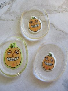 Smiling Tall Pumpkin Cabochons by jansbeads on Etsy