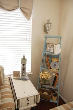love my ladder. It is displaying some of my favorite decor. An old ...