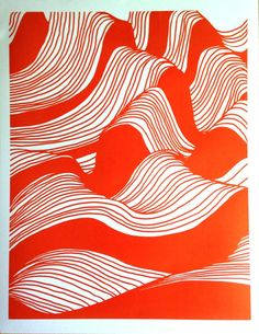 Strands 3 screen print orange by MichaelArras on Etsy Pattern Art, Pattern Design, Red Pattern, Screen Print Poster, Silk Screen Printing, Papers Co, Grafik Design, Op Art, Abstract Art