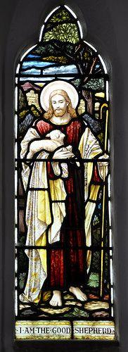 Cold Aston St Andrew north-west chancel window 'The Good Shepherd' Heaton, Butler and Baynes 1909 -76