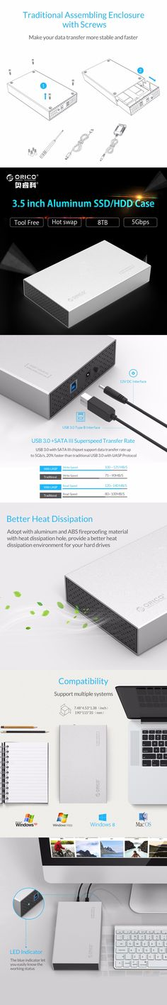 ORICO 3518S3 Aluminum SATA 3.0 to USB3.0 Type-B 2.5 / 3.5 inch SSD / Sata HDD Enclosure Storage (Not including HDD)
