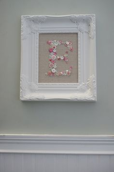 Personalized Monogrammed Button Display-White Ornate Picture Frame-Shabby Chic-Wedding Bridesmades-Baby Shower Nursery Gift. $110.00, via | http://homedecorphotos527.blogspot.com
