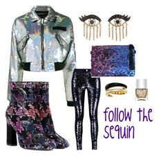 """""""follow the sequin"""" by out-in-heels on Polyvore featuring Filles à papa, Roger Vivier, Michael Kors, Sydney Evan and Nails Inc."""