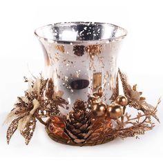 Candelabro Vaso de Natal Dourado Santine 046-065911 - Havan