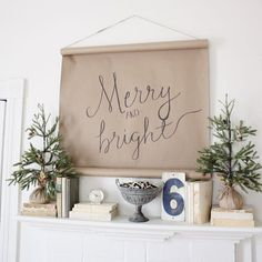 Sign and trees idea for welcome table-Cute idea for hanging --brown paper roll