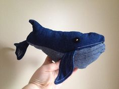 Whale Plush Plushie Stuffed Animal Toy Created out of Vintage Re-purposed Denim Great Gift for Child Sealife. $19.99, via Etsy.