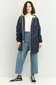 BDG Oversized Fisherman Navy Anorak - Urban Outfitters