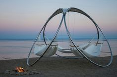 This triple hammock is an excellent idea and lets the whole family spend time together outdoors.