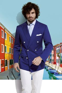 Belvest 2015 | Men's Fashion | Menswear | Men's Outfit for Spring/Summer | Blue Double Breasted Suit Jacket, White Pants/Trousers | Moda Masculina | Shop at designerclothingfans.com