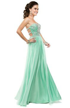 Sea mist chiffon dress with an open back for effortless drama | Flirt Prom #green #mint #promdress #stpatricksday