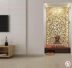 pooja mandir mdf backdrop gold livspace bedroom modern puja panel