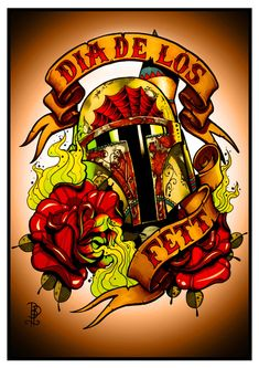Dia De Los Fett Tattoo Flash Print 11.7 x 16.5(A3).