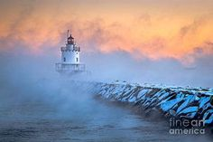 Extreme cold causes arctic sea smoke to form in Casco Bay at Spring Point Ledge Lighthouse in South Portland, Maine. This is the kind of weather landscape photographers dream about, so being out in the extreme cold really doesn't bother me. South Portland, Casco Bay, Nautical Marine, Lighthouse Art, Traditional Landscape, Water Tower, Landscape Photographers, Seaside, Scenery