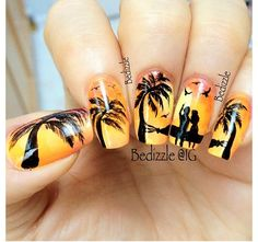 Perfect location! Sunset nails by bedizzle