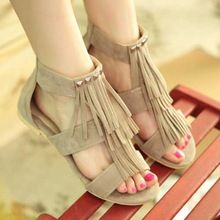 Big size 34-43 Roman t strapts Tassels Rivets Summer Shoes Cutouts Flats Heels Open Toe Platform Gladiator Sandals for Women(China (Mainland))